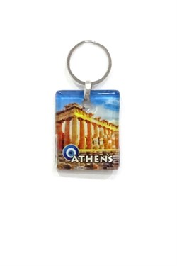 Athens Themed Glass Keychain