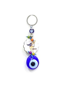 Printed Wood Evil Eye Beaded Keychain