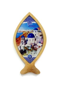 Greece Themed Wooden Fish Framed Glass Wall Ornament