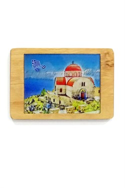 Greece Themed Wooden Framed Glass Wall Ornament