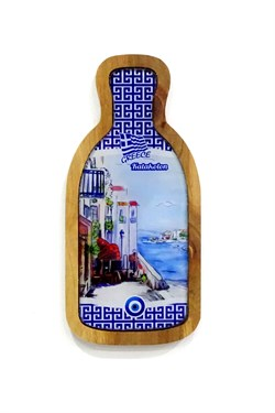 Greece Themed Wooden Bottle Framed Glass Wall Ornament