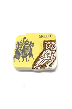 Greece Themed Owl Figured Magnet