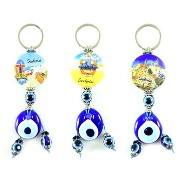 Greece Patterned Evil Eye Beaded Keychain
