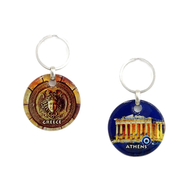 Greece Patterned Round Glass Keychain