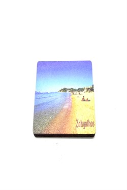 Zakynthos Themed Wooden Rectangle Magnet